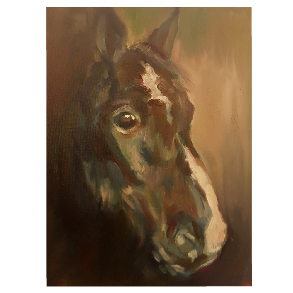 Oil painting of a horse lost found edges.png