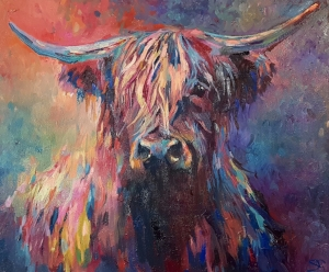 Highland Cow  Oil on stretched canvas 50 x 60 cm 2018 SOLD