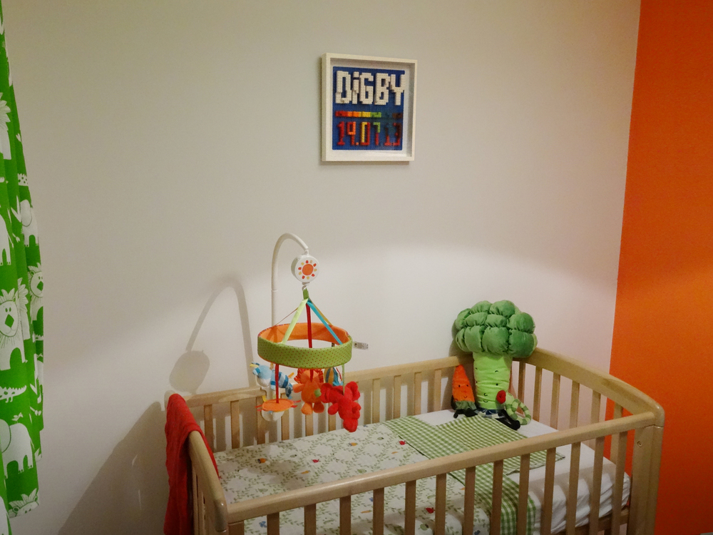 Digby's nursery complete with the first ever Happy Joddy frame taking pride of place above his cot...