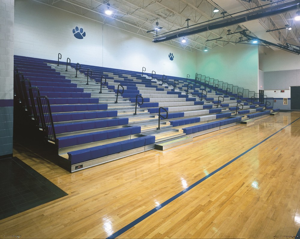 Retractable, telescopic, bleacher seating for sports hall
