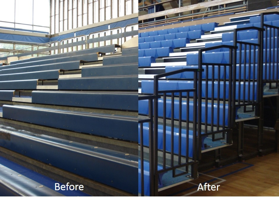 refurbishment of bleacher seating with retractable or telescopic platforms