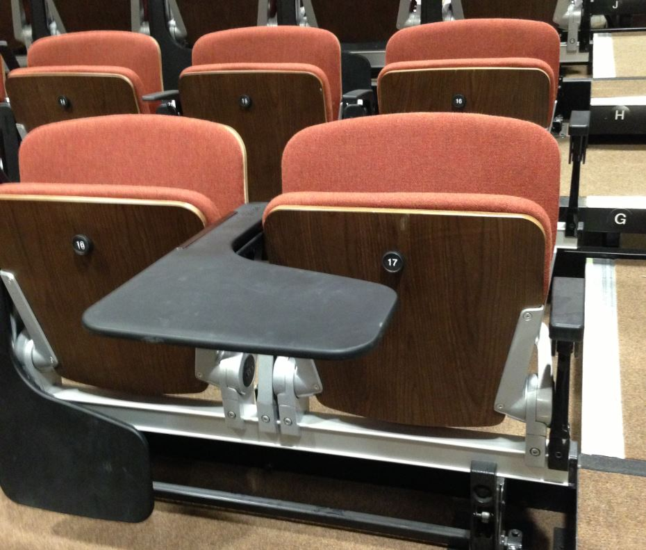 Lecture hall, lecture theatre seating & chairs — Retractable ...