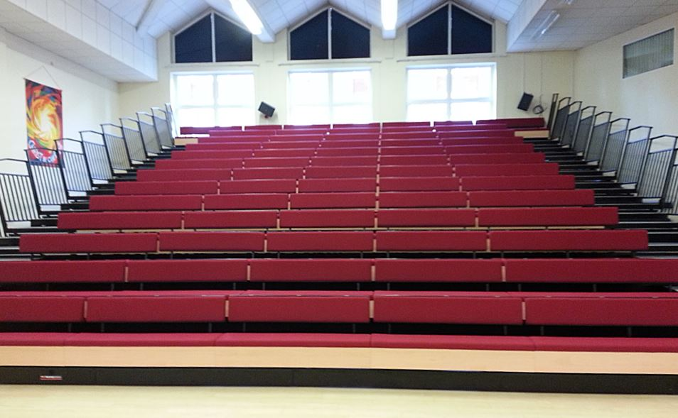Newhall retractable (telescopic) seating system with Sports Bench