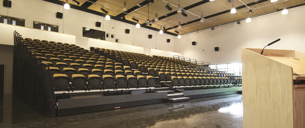 Retractable tiered school hall seating