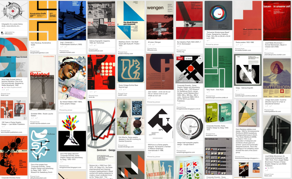Examples of posters designed in the Swiss style
