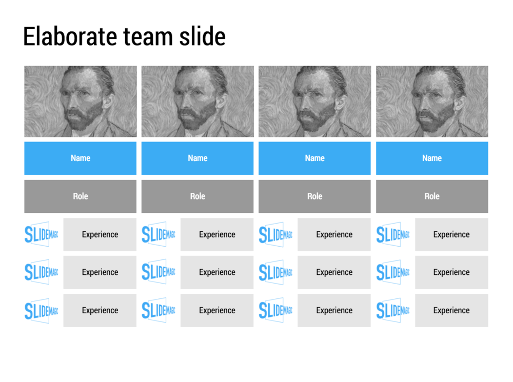 A team slide that provides more space to list background and experience