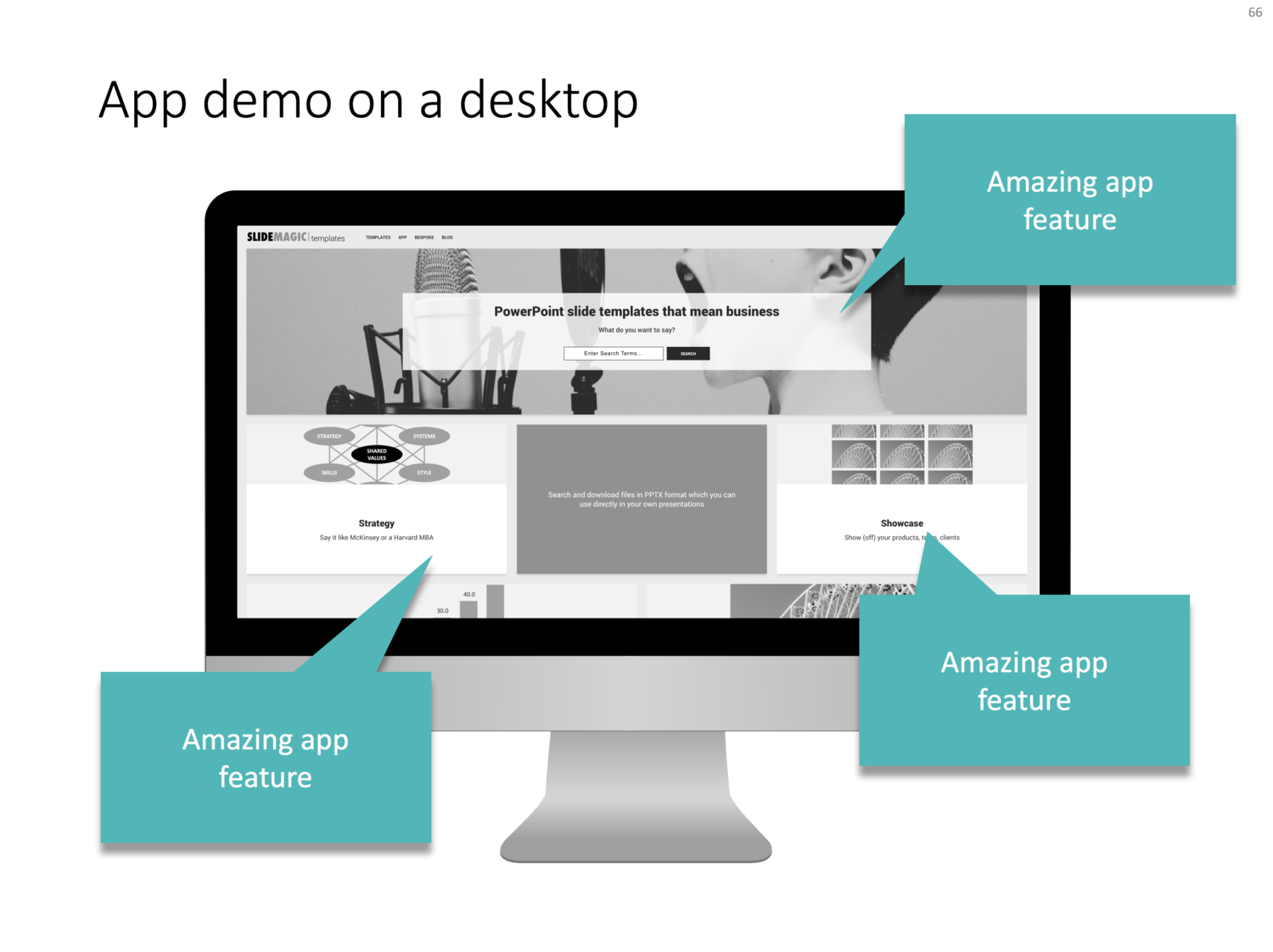 App demo slides — PowerPoint templates and presentation design services