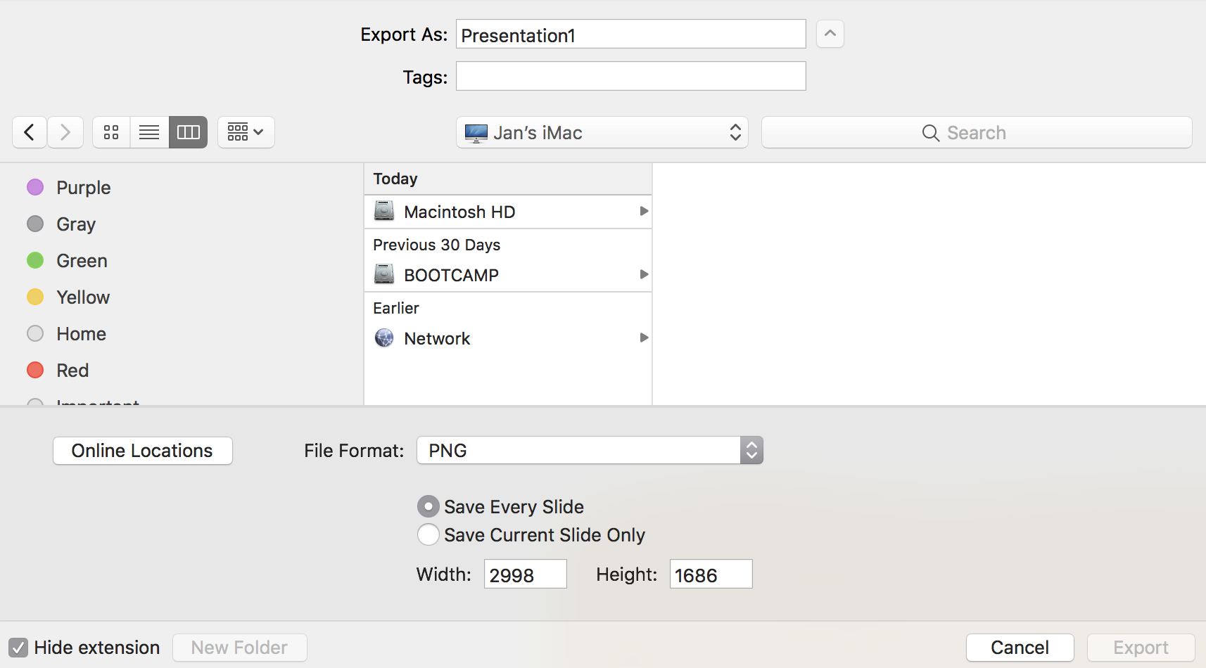 how to export powerpoint slides as high res images on a mac