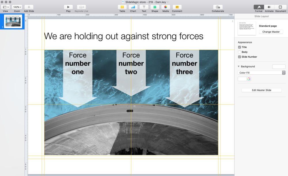 Slides in Keynote look the same except for the font