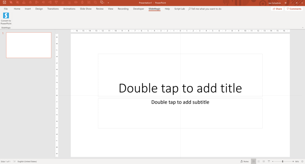 A new SlideMagic tab will added to your PowerPoint ribbon