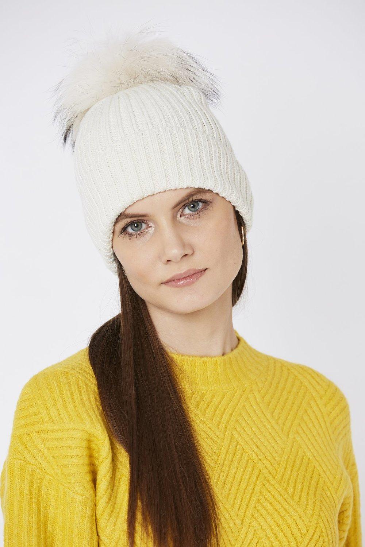 8470981f8 Ribbed Beanie Hat with Fox Fur Pom Pom Cream