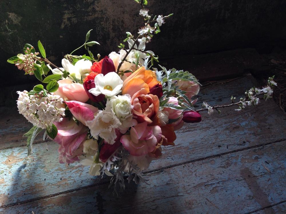 Seasonal tulip bouquet by The Garden Gate Flower Company