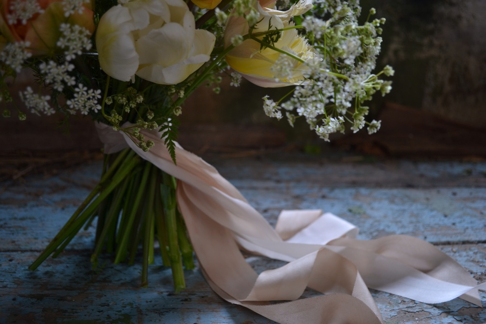 Silk ribbon by Silk & Willow, bouquet by The Garden Gate Flower Company