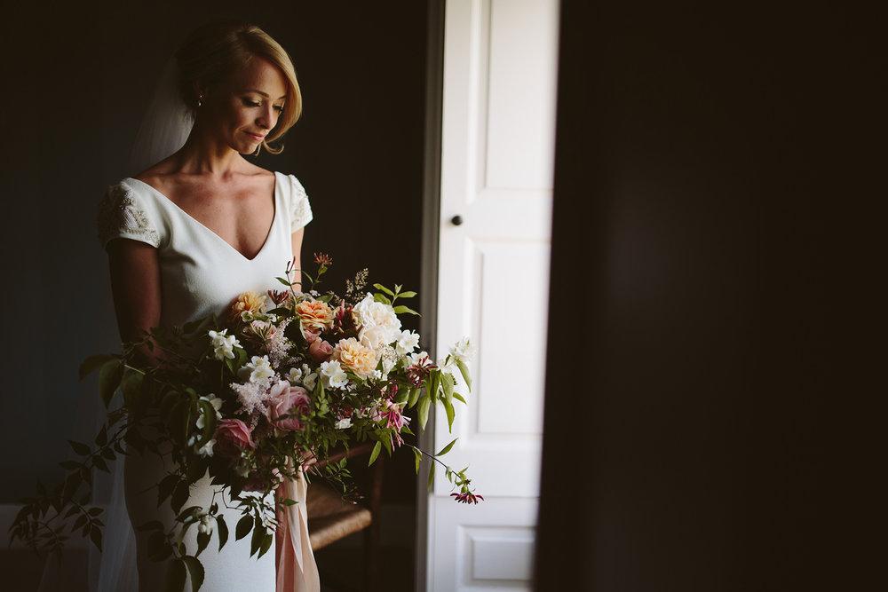 Summer bridal bouquet at Boconnoc House