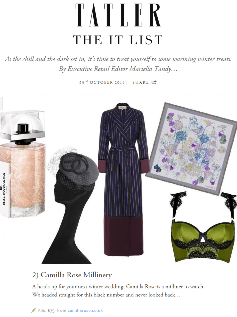 Tatler 'It List' - October 23rd 2014 (Aile Headpiece)