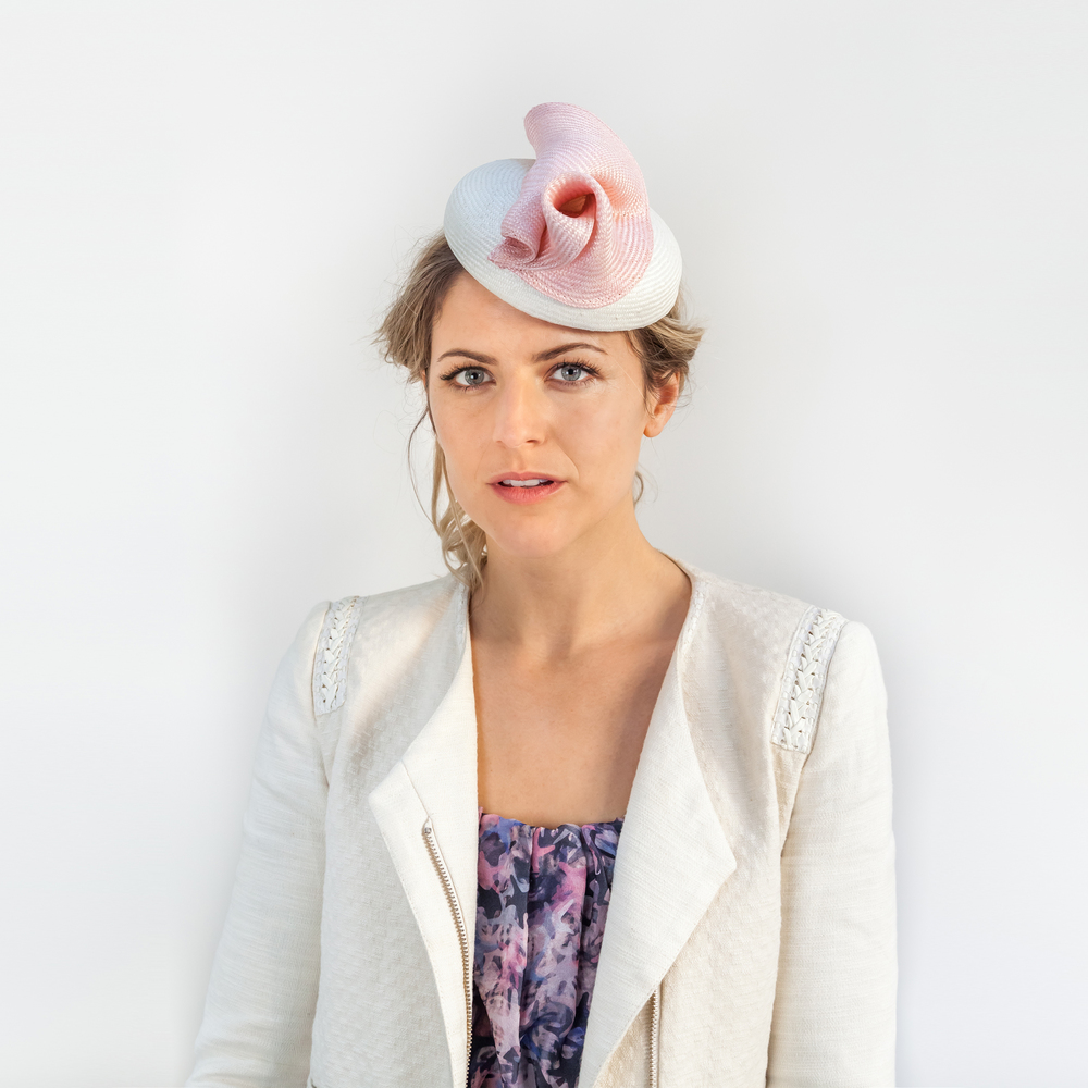 ANALYTIC - £60  White sisal straw button headpiece with pale pink soft fold.