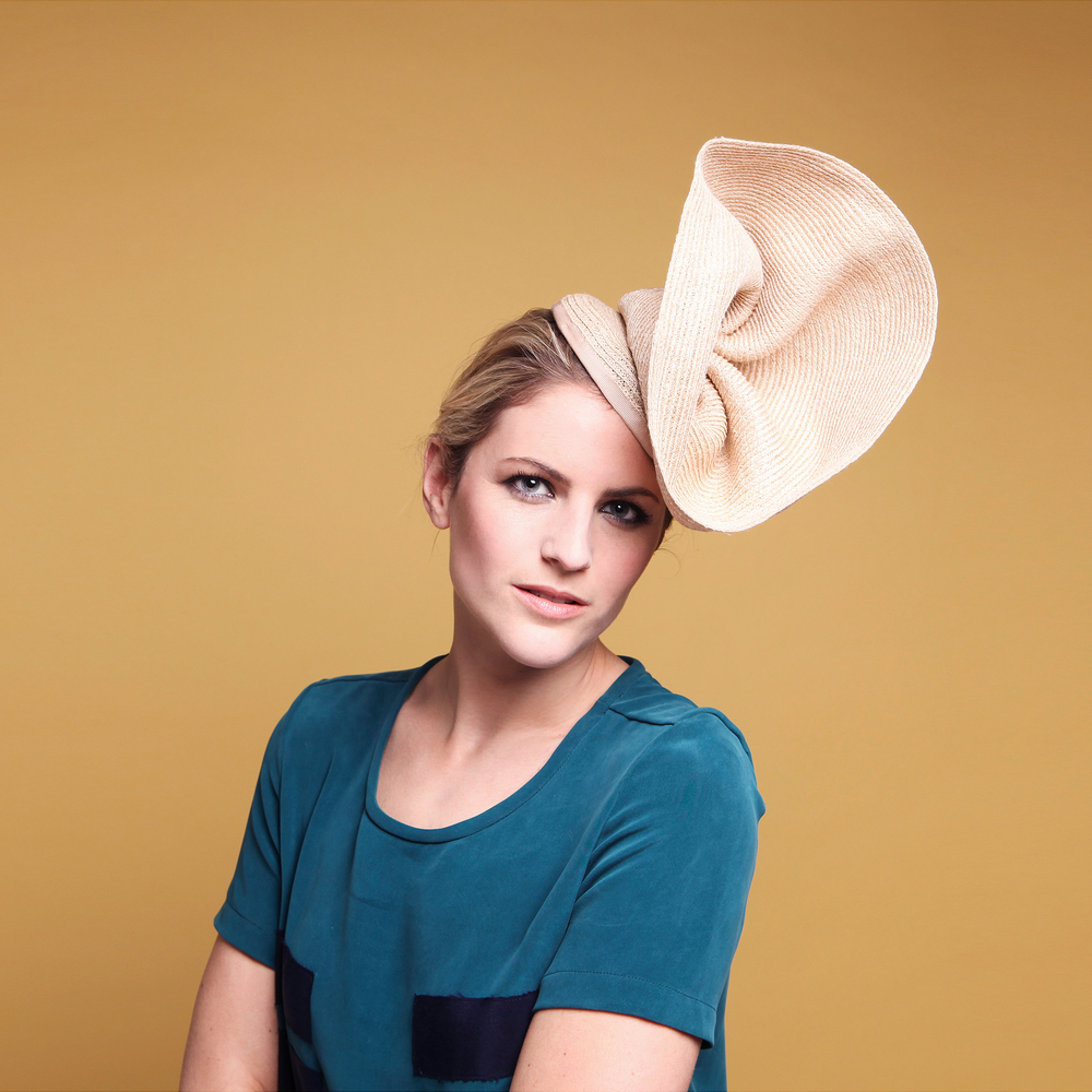 MARINA - £65  Natural hemp button headpiece with organic folds and pleats.