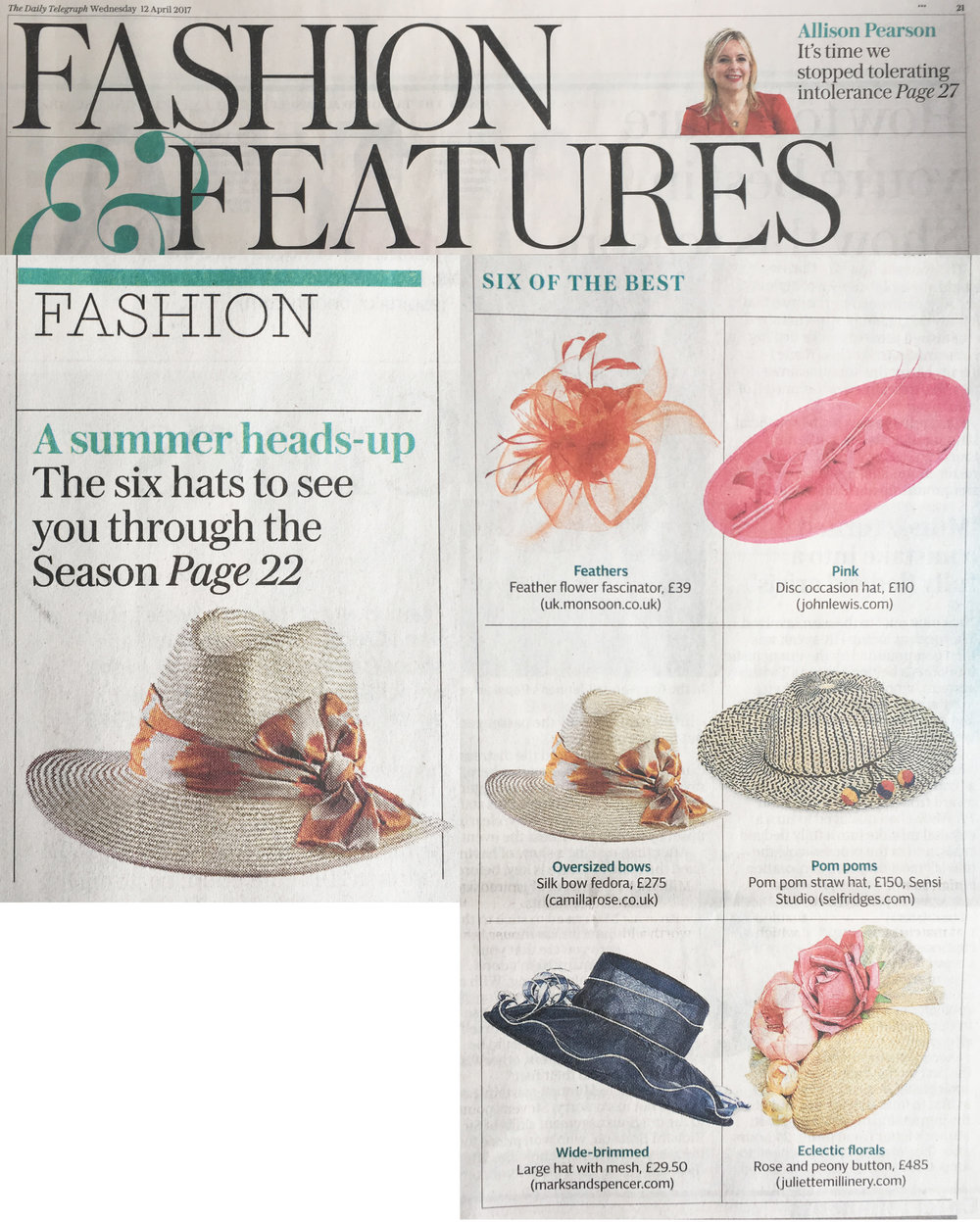 Press camilla rose millinery the daily telegraph wednesday 12th april 2017 ibo fedora falaconquin