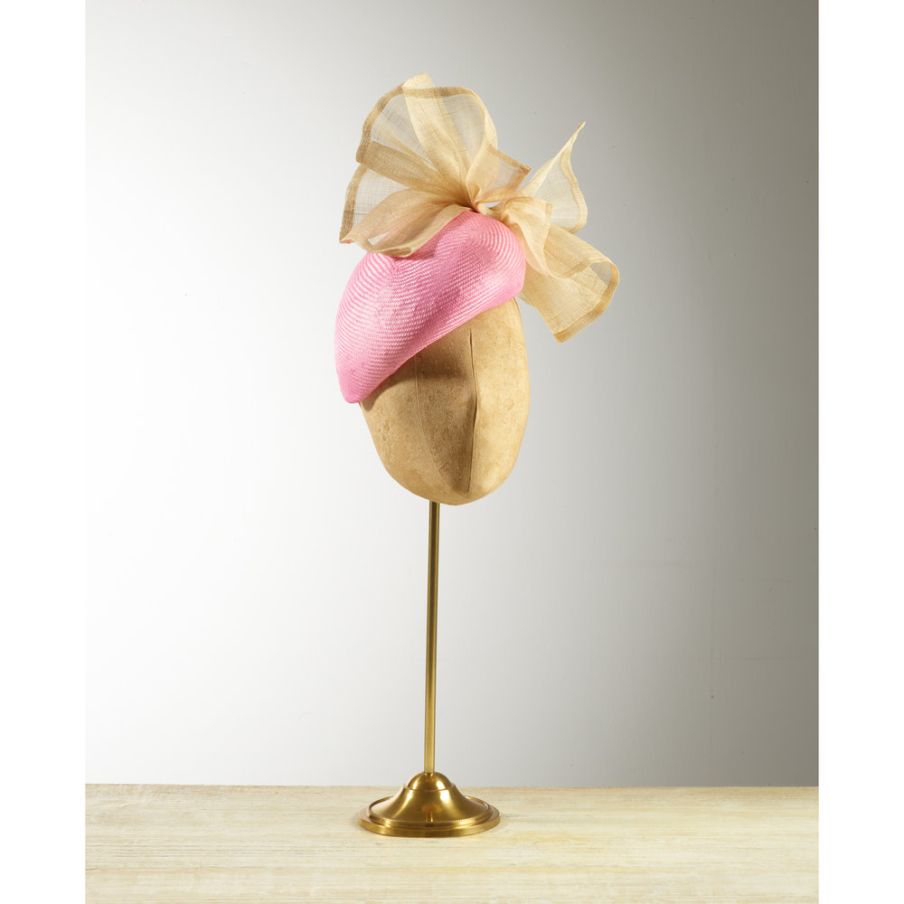 AGAVE (Pink/Natural) - £75  Pink sisal straw beret headpiece with natural pinokpok bow.