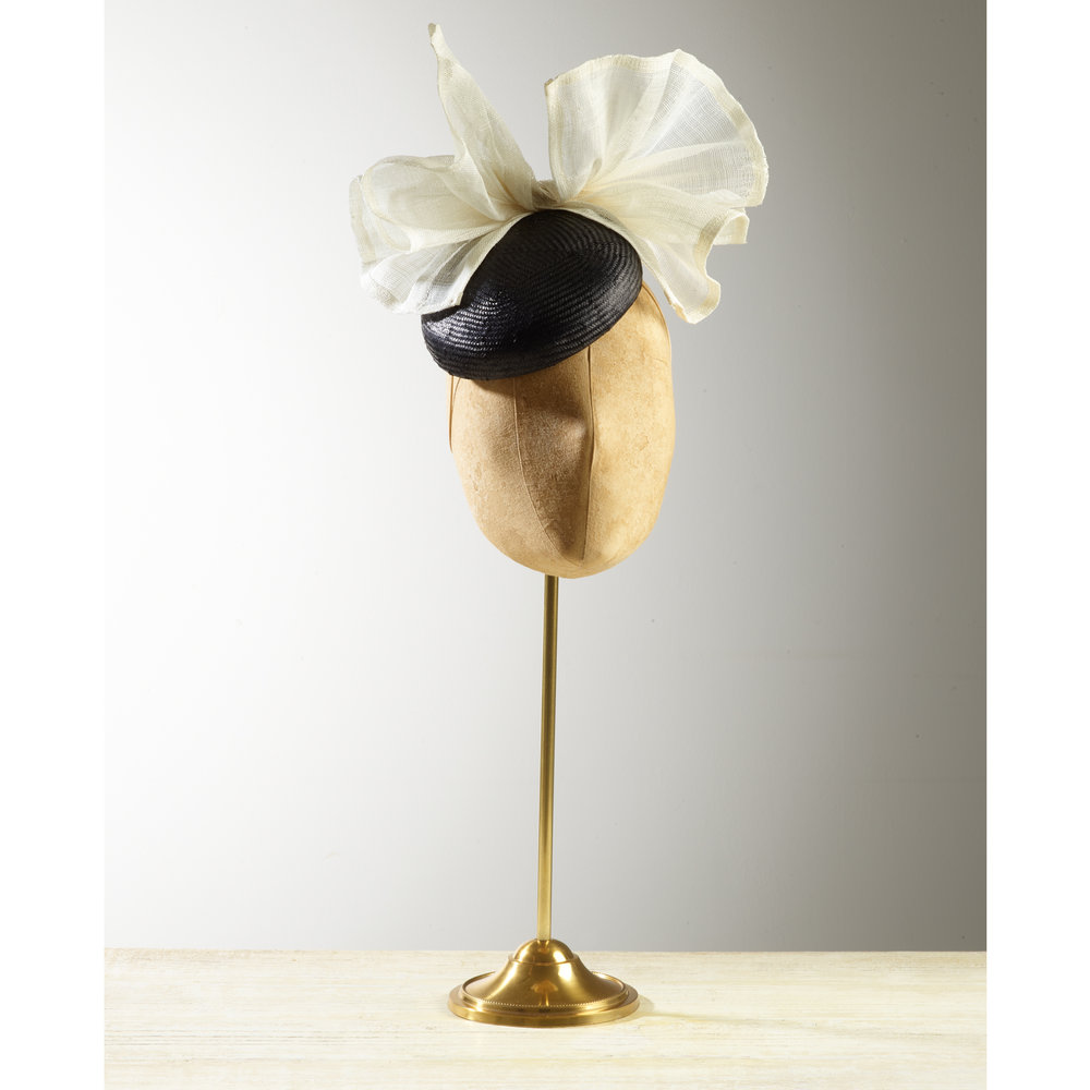 CYCAD (Black/Ivory) - £75  Black sisal straw button headpiece with cream pinokpok bow.