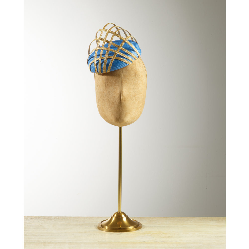 HIVE (Blue) - £65  Cornflower blue sisal straw button headpiece with natural criss cross hive.