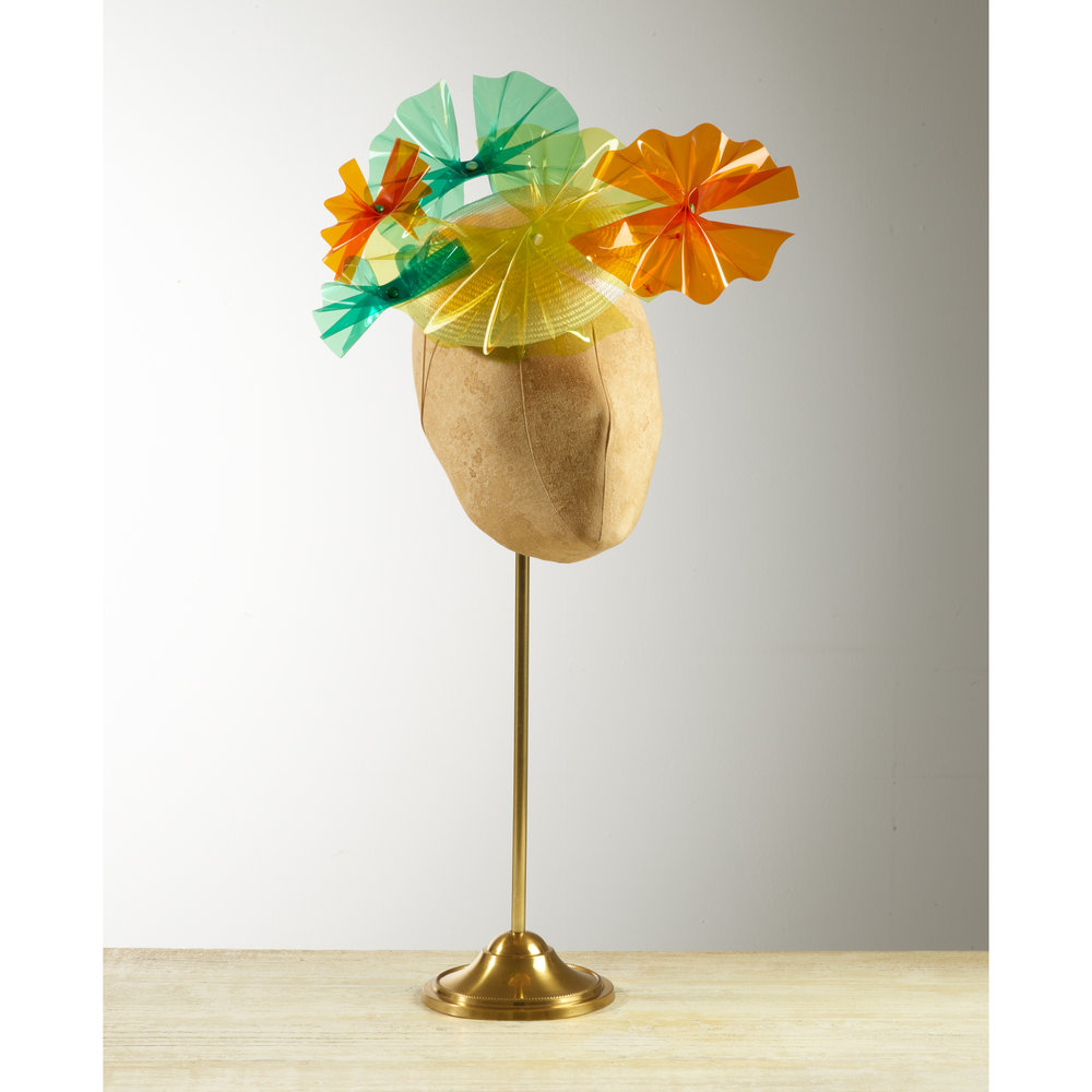 PALM (Yellow/Orange/Green) - £75  White sisal straw button headpiece with yellow, orange & green acetate palm fronds