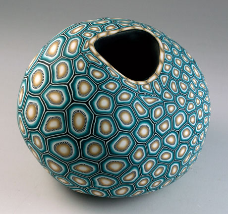 Turquoise and khaki Vessel