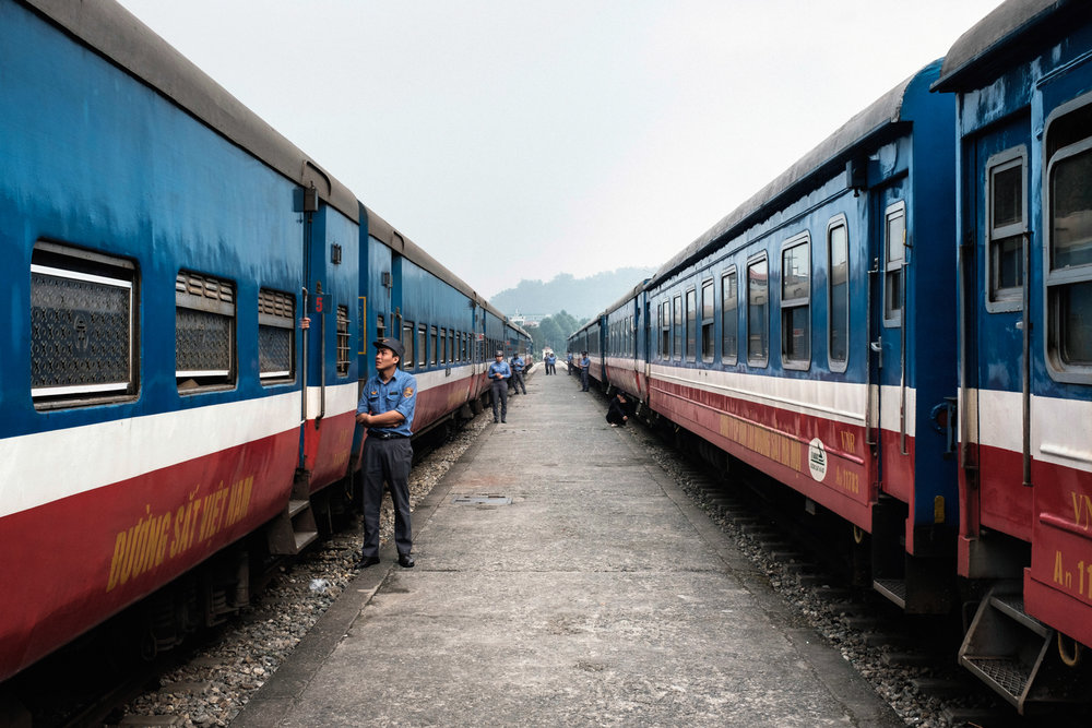 Trains waiting to depart for Northern Vietnam.