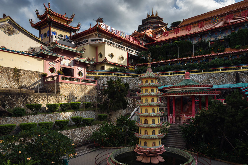 The Buddhist/Hindu Kek Lok Si Temple at sunset.
