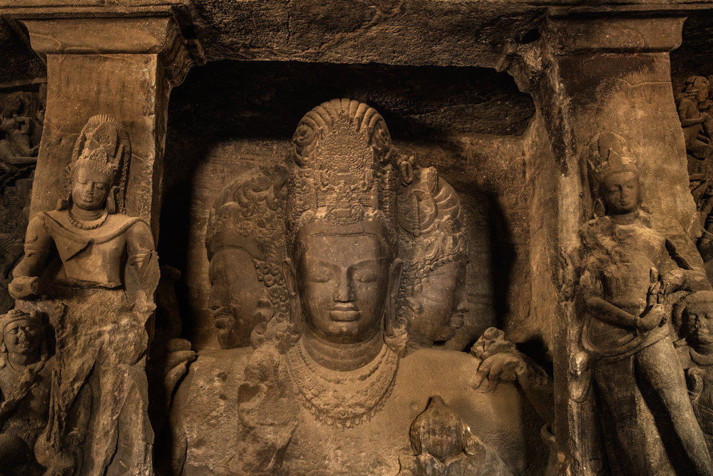 Elephanta Cave carvings.
