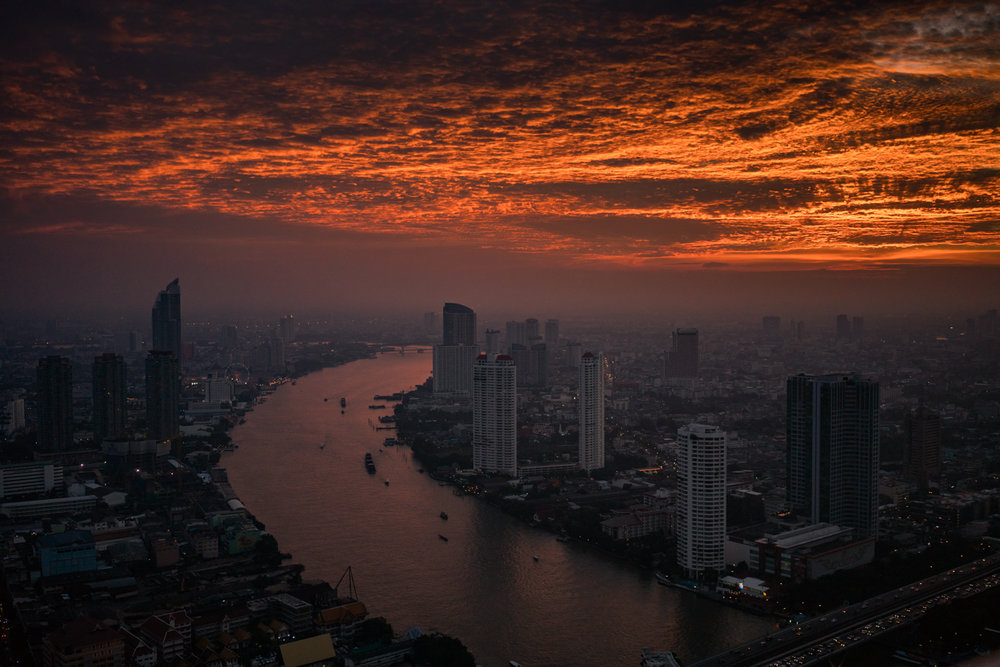 Sunset over Bangkok from the Sky Bar.