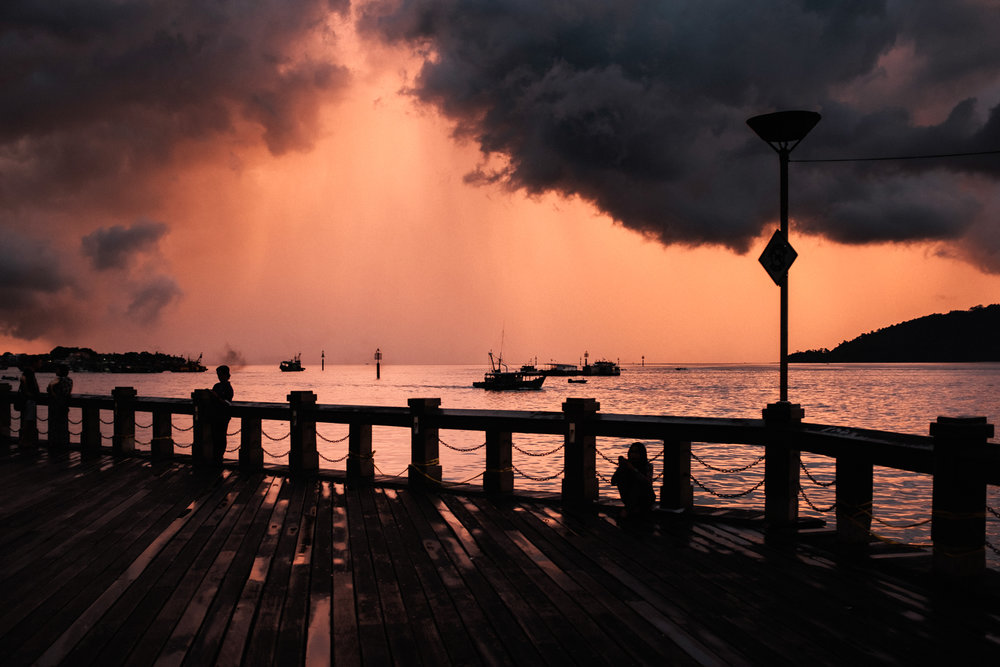 A dramatic sunset at Kota Kinabalu pier.