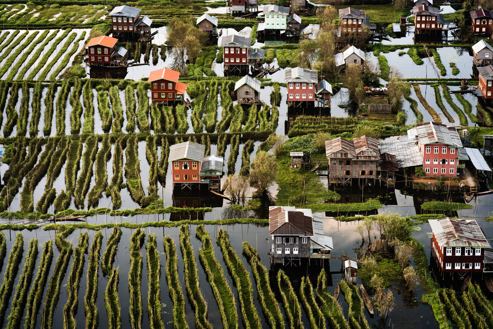 Aerial view of the floating gardens and stilted houses of Inle Lake.