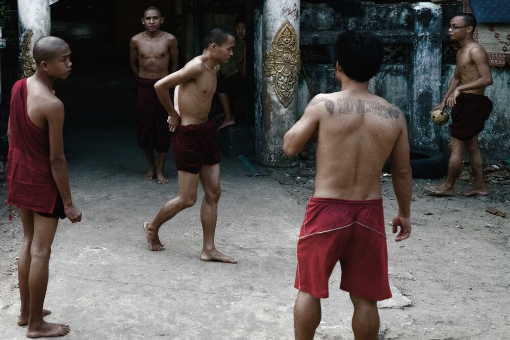 Monks play a game of Chinlone, the National Sport of Myanmar.