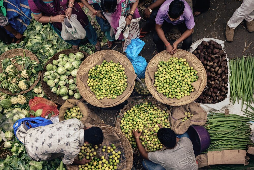 Fresh fruit and vegetables being sold at BB Dadar Market