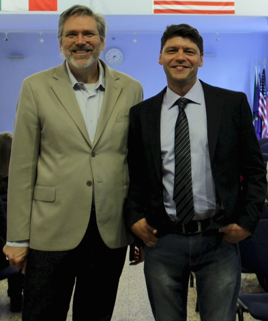 With my guide and friend, Chair Carlos Dews, at John Cabot University, April 10, 2014