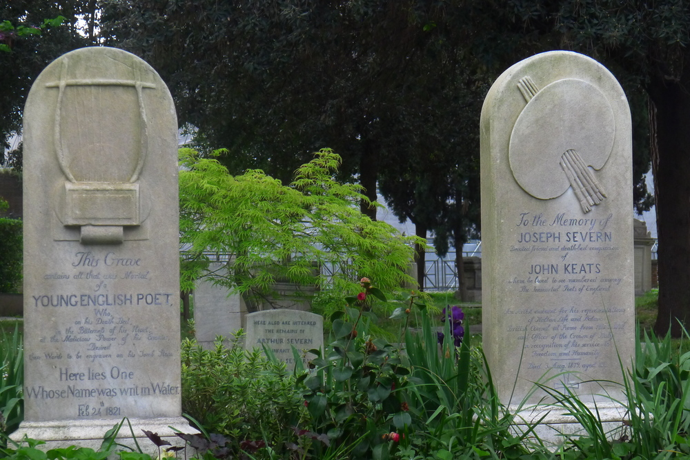 The graves of Keats and Severn in the Non-Catholic Cemetery