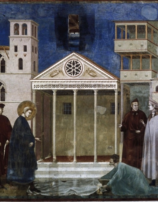 Assisi's Temple of Minerva as depicted in this 14th century fresco by Giotto