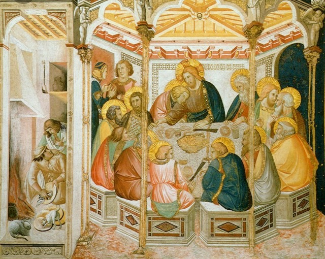 "Lorenzetti's fifteenth century  Last Supper  with its corresponding ""waiter world"" for perspective contrast"