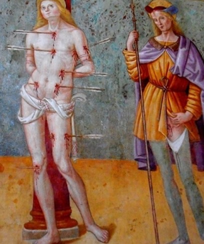 Sebastian and Rocco, by a student of Tiberio, San Damiano Church, Assisi