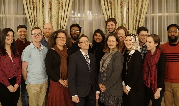 "Wonderful late November 2017 event at the Japanese embassy with my Translation course: a talk on the haiku by Matthew Levitas (center). Students wrote haiku on ""American emptiness"" to be displayed in the empty installment boxes between exhibits."