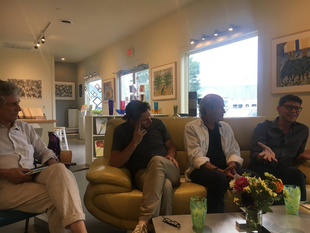 From left: Moderator Matthew Tannenbaum, musician Johnny Irion, artist Jim Youngerman, and me. A panel on collaboration @ Lauren Clark Gallery, Great Barrington, MA