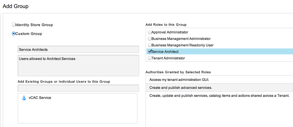 "Create a group that contains the user you are using, and give it the ""Service Architect"" role."