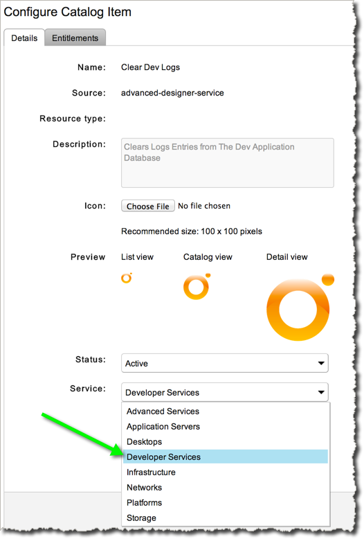 "Assign the ""Developer Services"" Parent Service to our new Advanced Service"