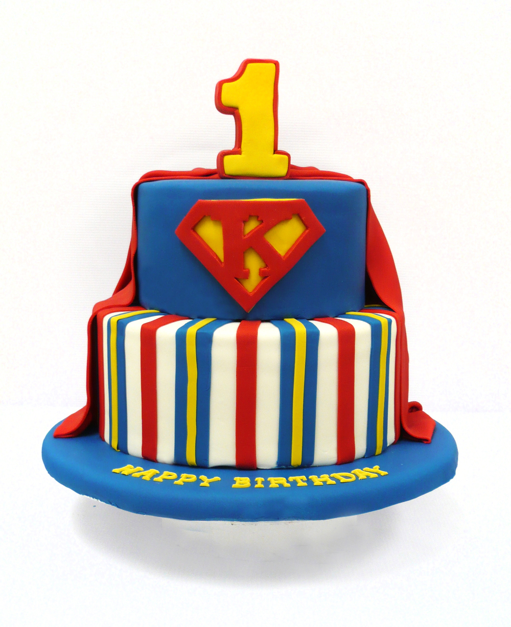 Superman First Birthday Cake