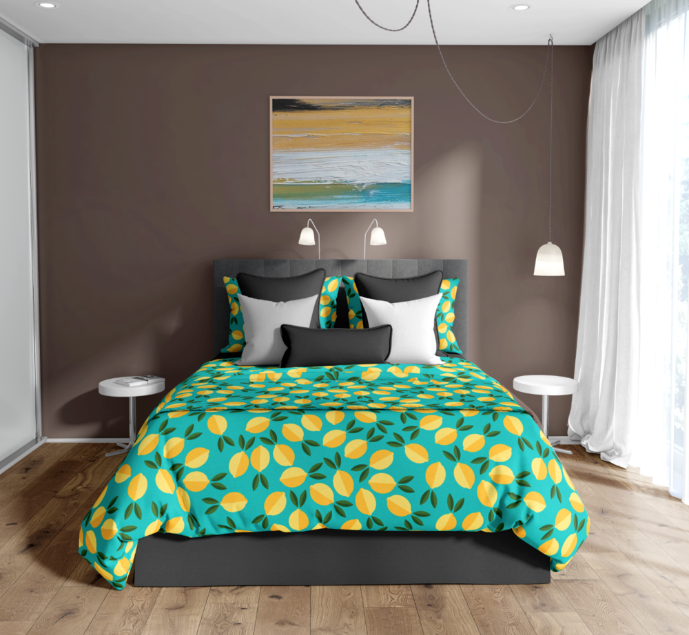 Limon - The main pattern in this collection was inspired by sunshine and good health. Paired nicely with its counter parts or with the Peach collection (below), it's a sweet twist on a tangy fruit.