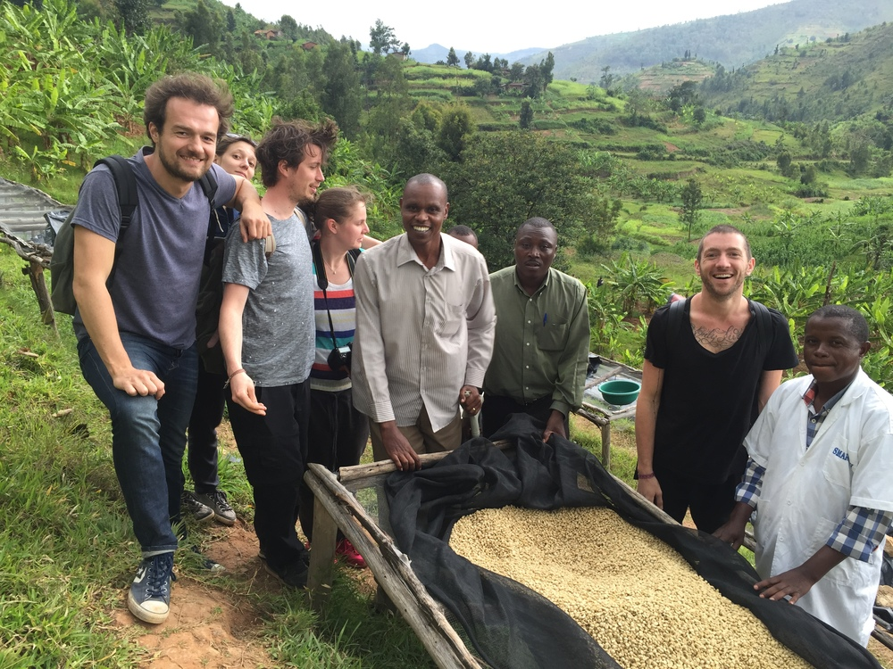 Evariste, Lennart, roasters from Amsterdam and Prague on their origin trip and  Jean Damascene   Uwimana (right), operational manager of Iwacu CWS.