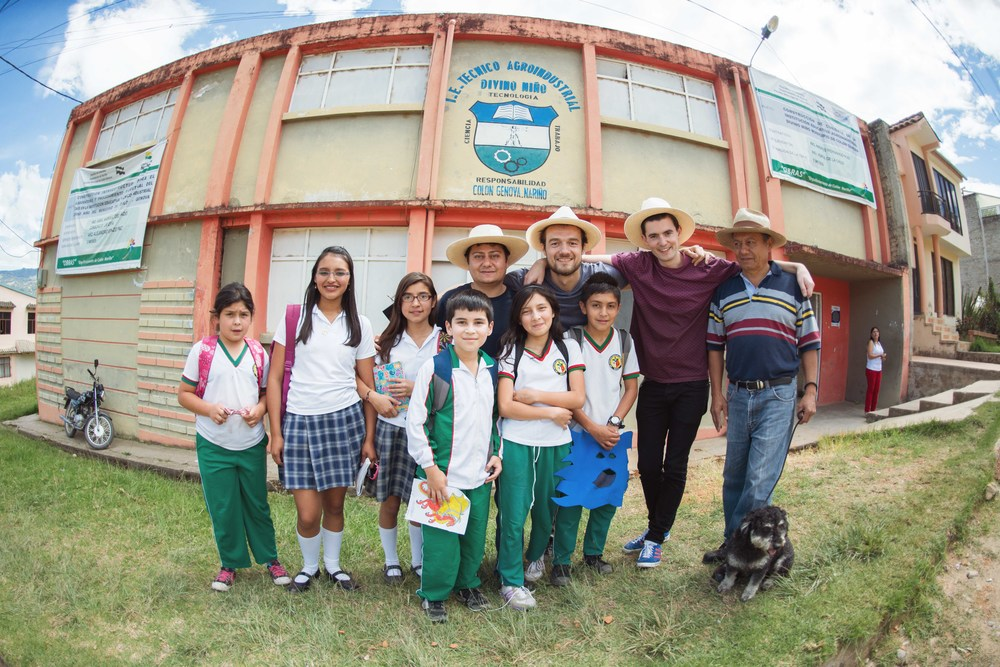 In front of the local school that is responsible for teaching good agricultural practices in Colón. Colombia is famous for its extensive coffee farming training programs.