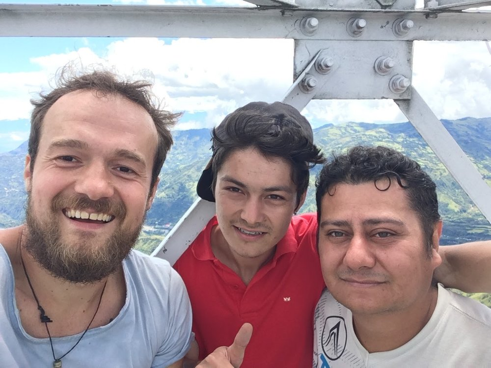 Sergio, Juan Pablo and Lennart in the top of the television tower on a mountain above the village. Sergio belongs to the Salomon Muñoz family as well and is a trained cupper - a vital asset for the village.