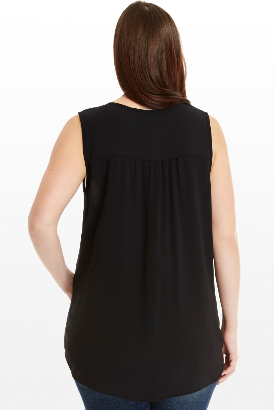 Black high-low sleeveless blouse